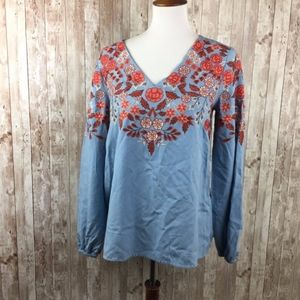 Sundance Blue Red Embroidered Floral Blouse Medium